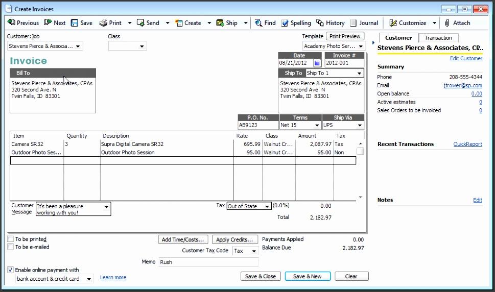 Invoice Quickbooks Free Printable Invoice Create Invoice Template Quickbooks