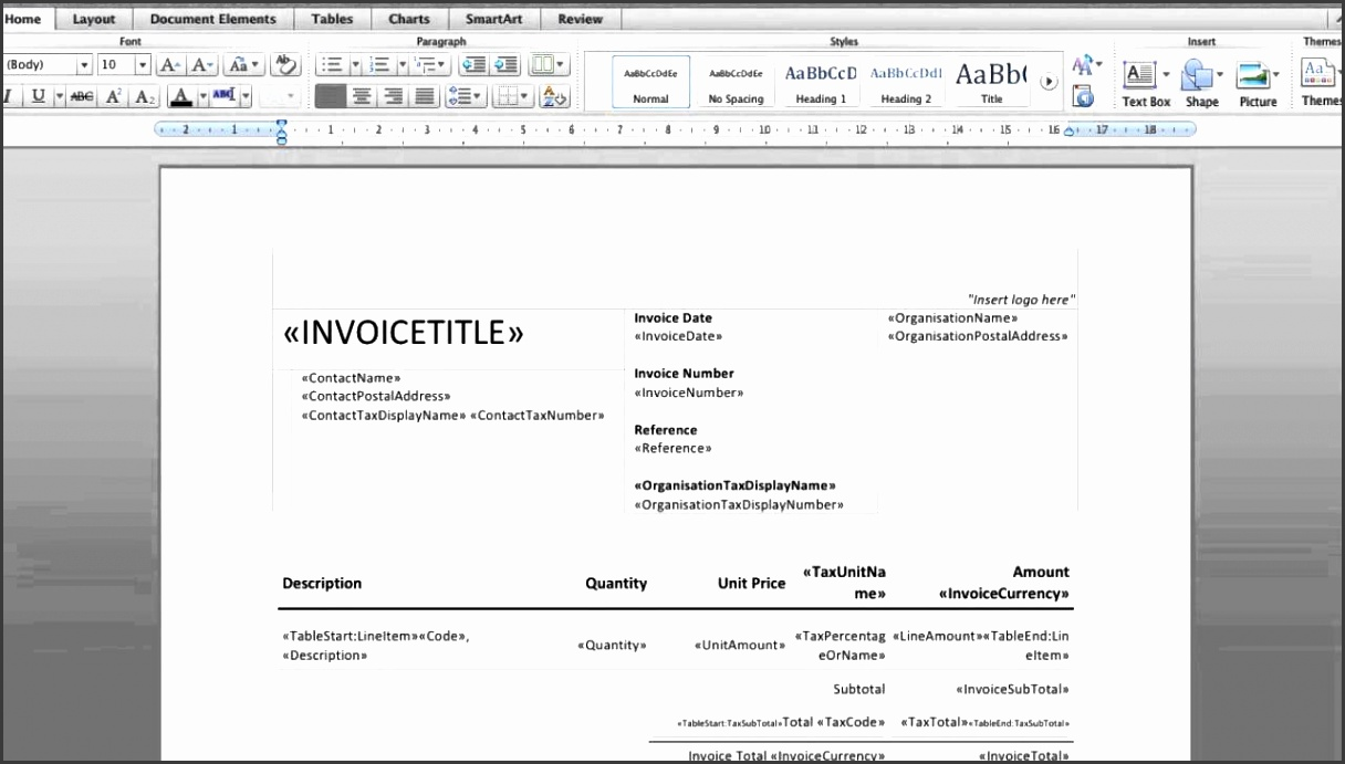 Create DOCX invoice templates in Xero Accounting Software