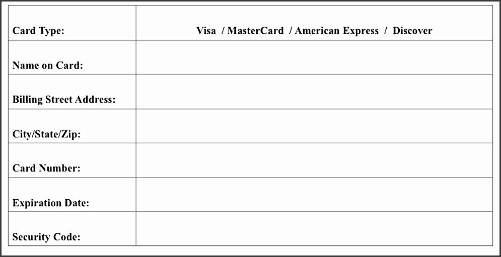 Parentguardian Credit Card Authorization Form 2017 2018 Credit Card Form Form