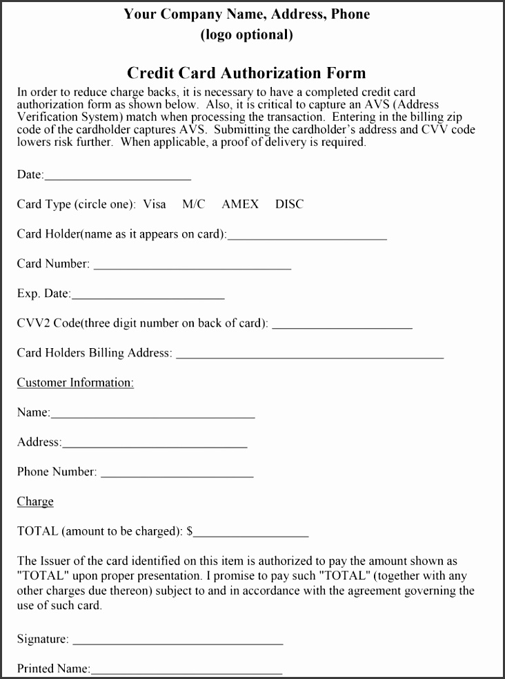 recurring credit card authorization form template free credit card authorization form authorization