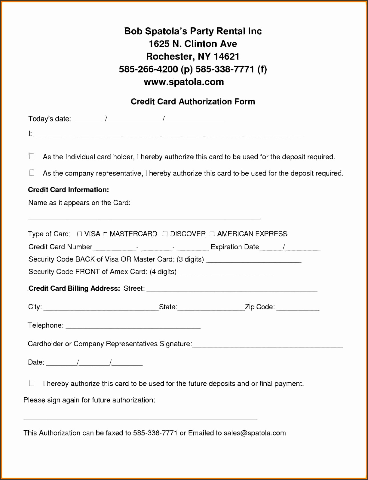 credit card authorization template Credit Card Authorization Form Template Free