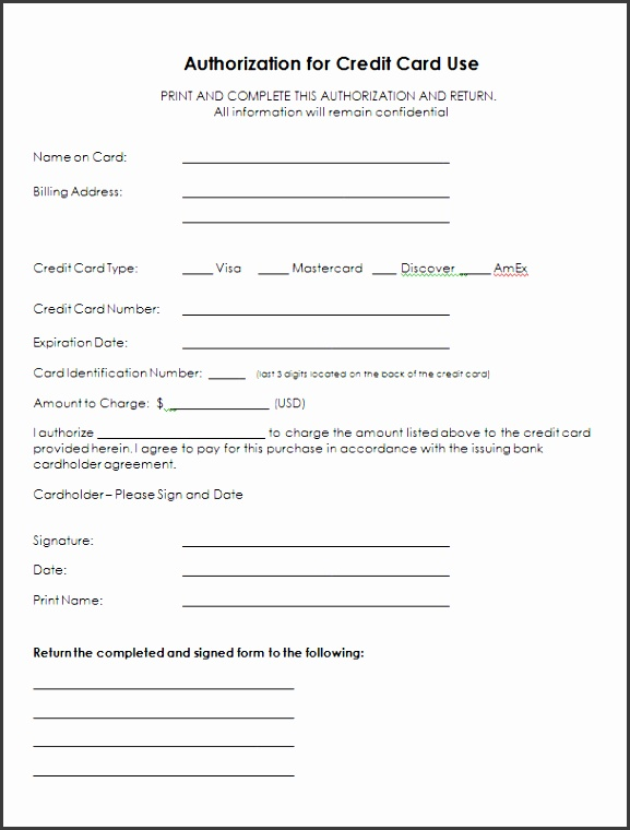Credit Card Authorization Form Templates Formats Examples Word Letter Payment Best Free Home Design Idea & Inspiration