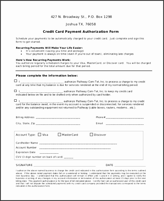 Recurring Credit Card Authorization Form Credit Card Authorization Forms The Cheapest Way To Process