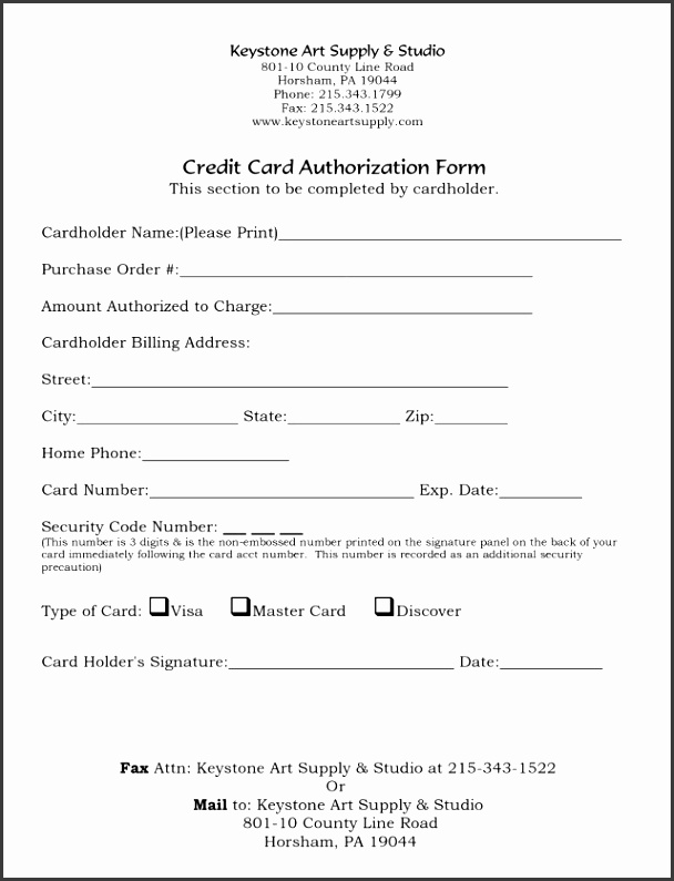 Another simple yet clean on file authorization form template for a pany that can be put to use to the relevant information about the credit card