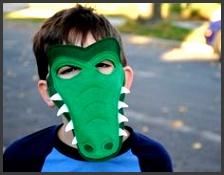Handmade felt alligator crocodile mask tail