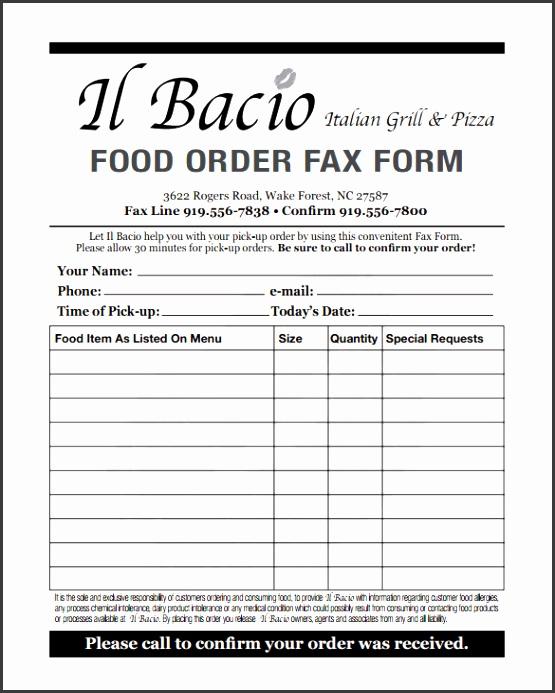Food Order Form Template PDF Download