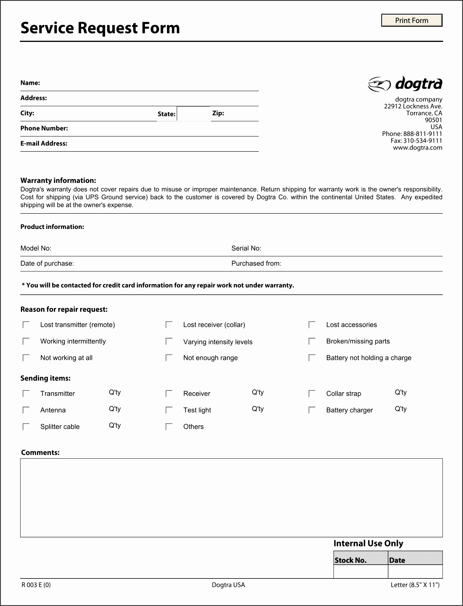 Service Request Form Sample customer