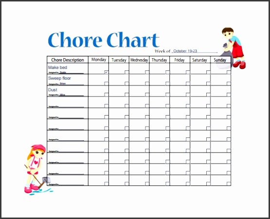 Sample Weekly Chore Chart Template
