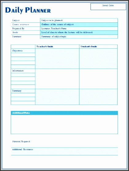 Daily Lesson Plan Template For Teachers