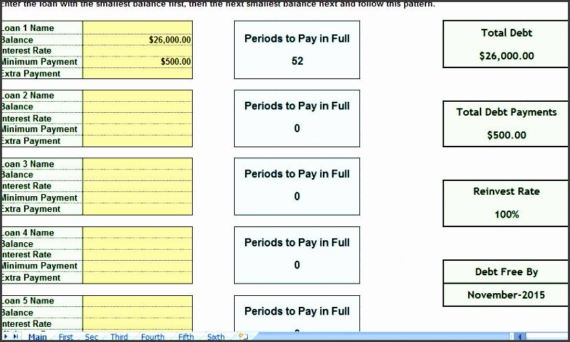 debt snowball consolidation calculator excel spreadsheet