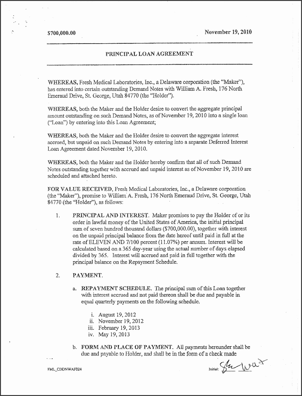 Loanayment Agreement Letter Sample Between Friends Contract Terms mercial With Schedule Loan Payment Automatic Form 1024