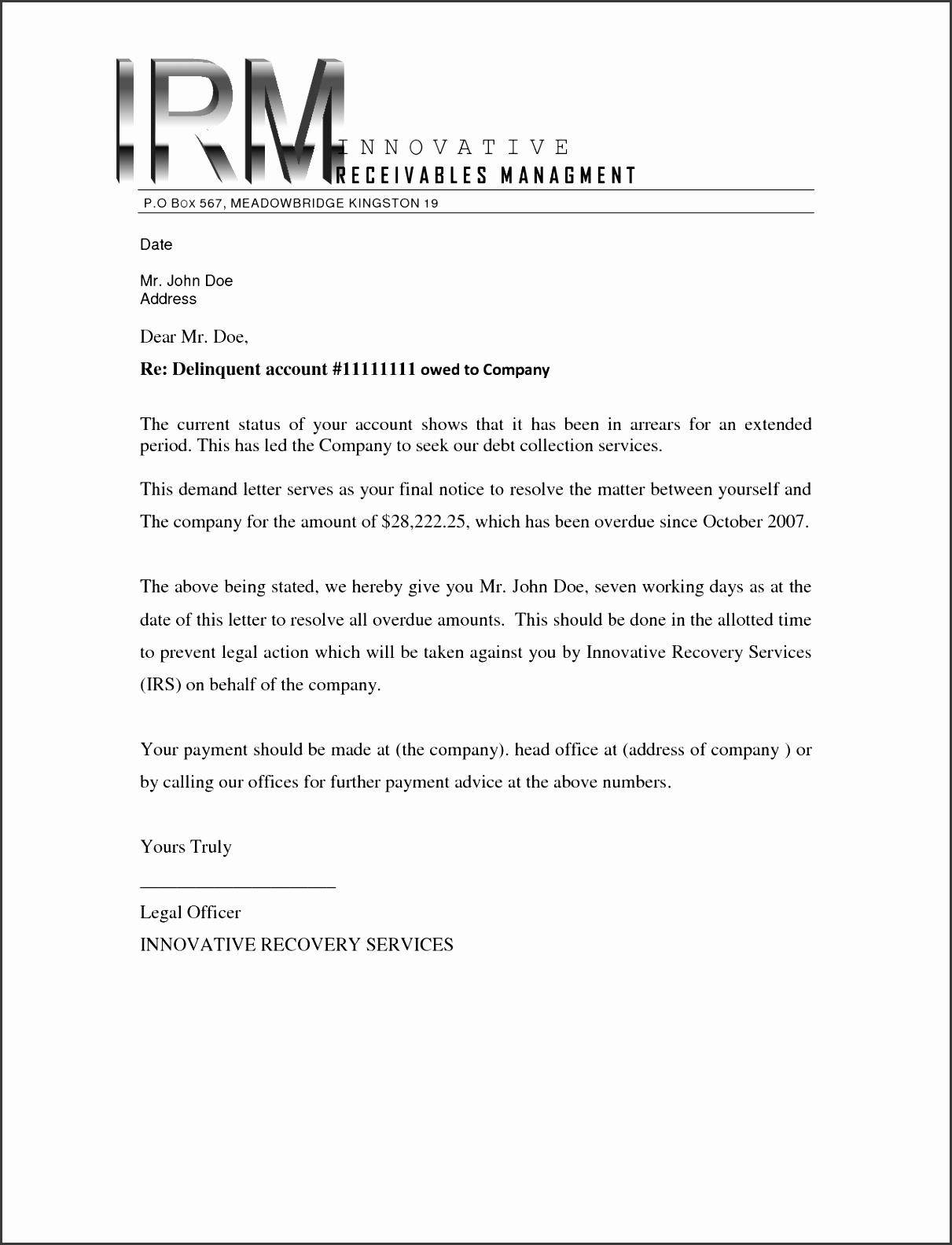 Debt Collection Demand Letter Sample