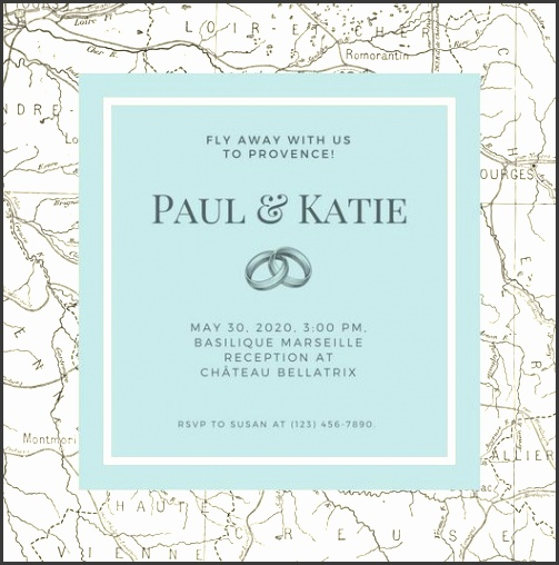 Grey Formal Map Destination Wedding Invitation