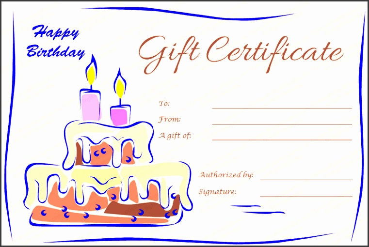 birthday t certificate template with cake and candles