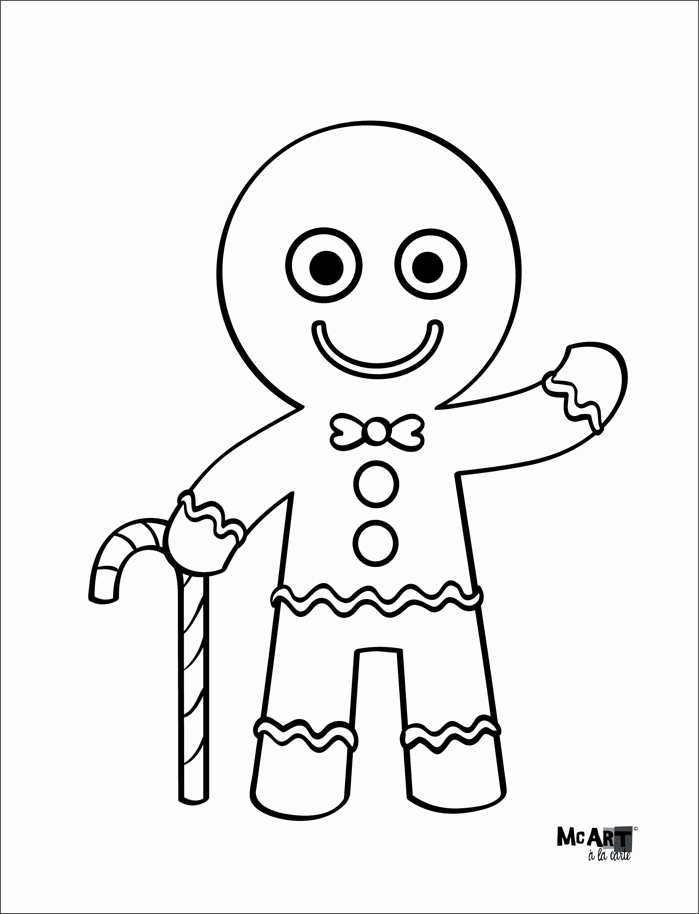 Gingerbread Man Coloring Page Printable Mask Template Small Full Size