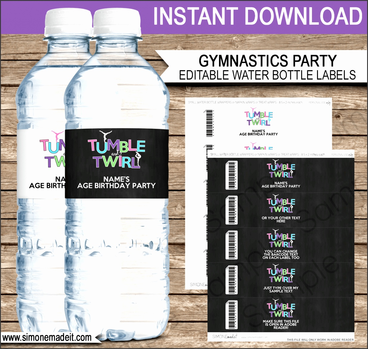 Gymnastics Party Water Bottle Labels Birthday Party Editable DIY Template