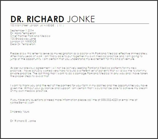 Doctors Resignation Letter Sample Template