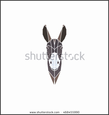 donkey on gray background Polygonal style Vector illustration