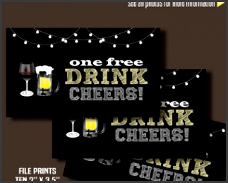 """Printable Free Drink Tickets Drink tickets 3 5"""" x 2"""" tickets Instant"""