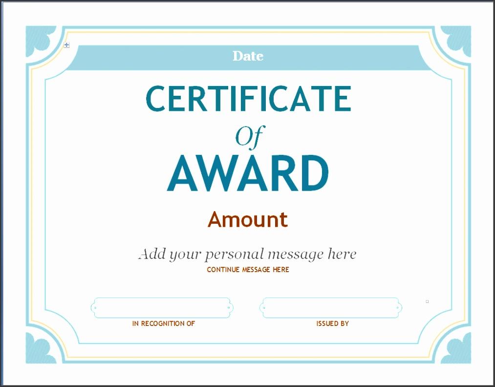 award certificate template