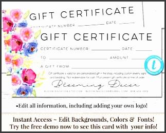 Editable Gift Certificate Voucher Printable Gift Cert DIY Gift Certificate Instant Download
