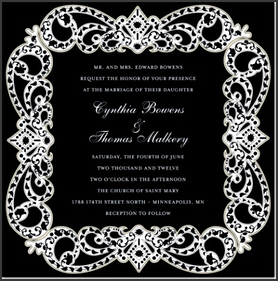 Elegant Vine Frame Black Formal Wedding Invitations