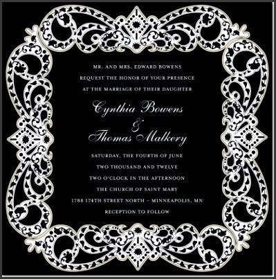 Elegant Vine Frame Black Formal Wedding Invitations