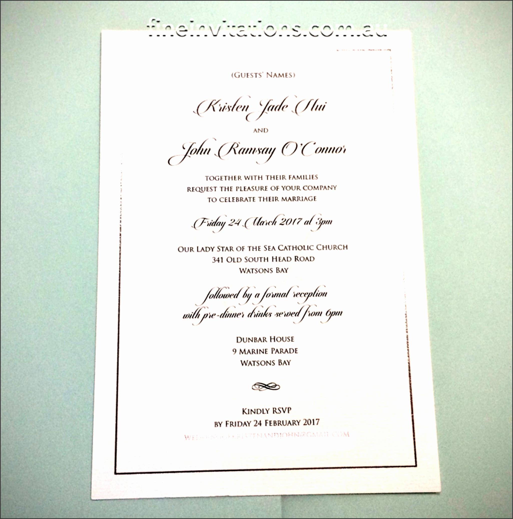 Formal A5 wedding invitation Sydney silver foil elegant watermark