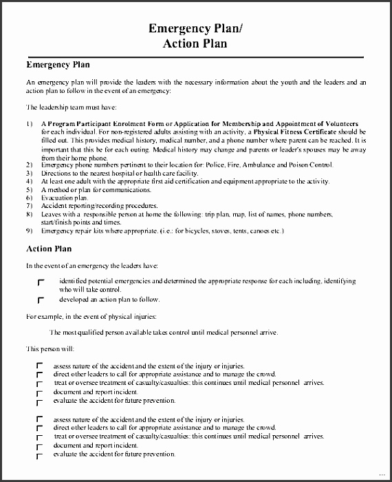 Emergency action plan template example elegant gallery