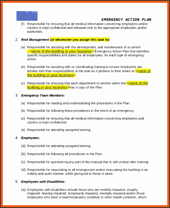 sample emergency action plan general business emergency action