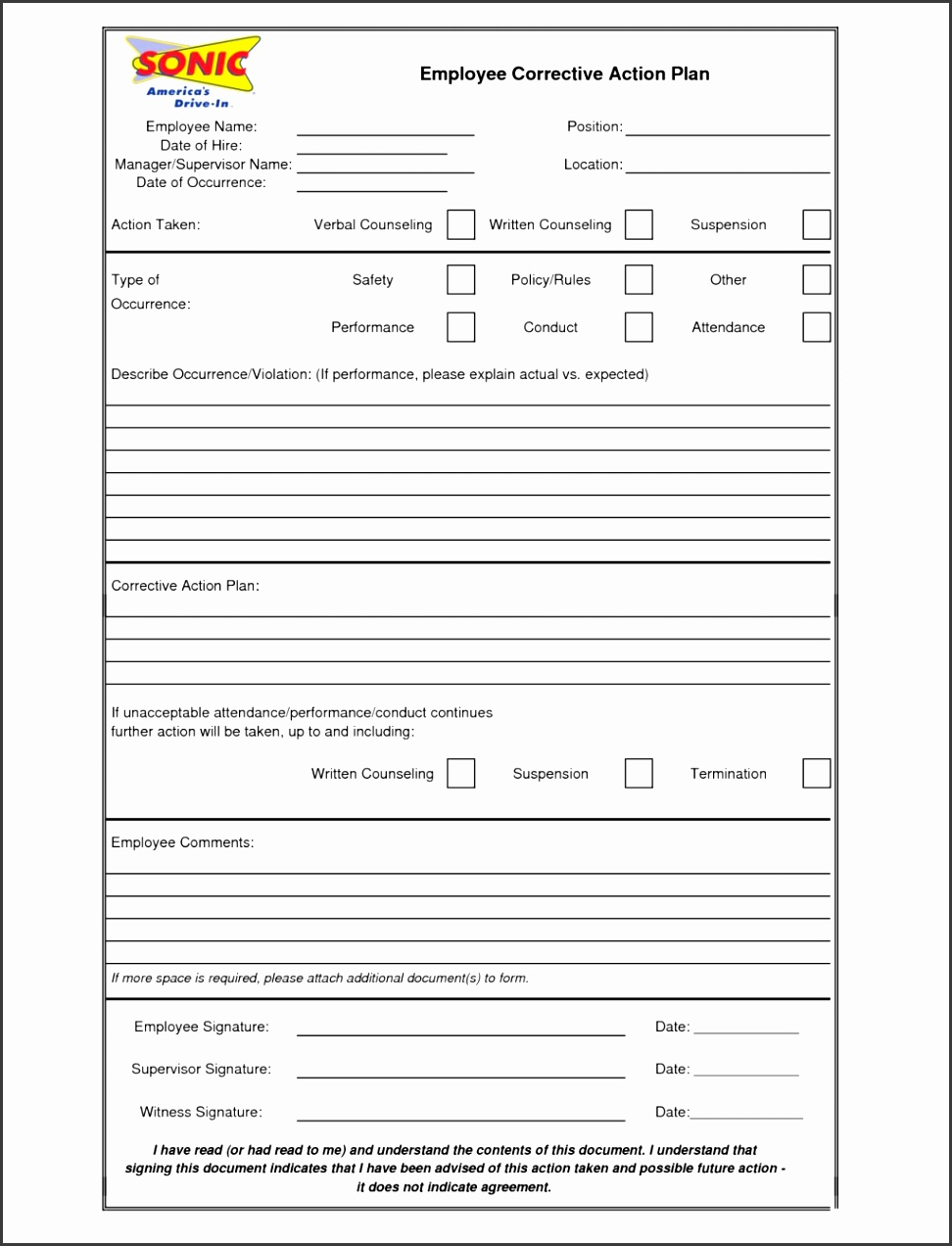 Employee Corrective Action Plan Template Form Sample Blank