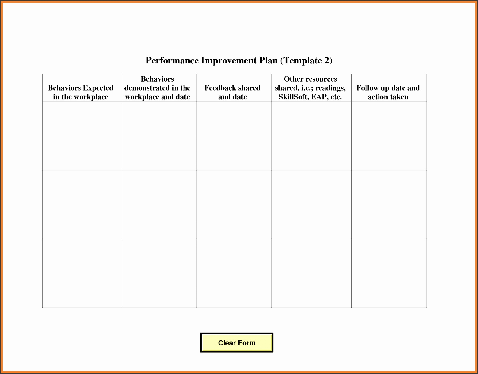 employee action plan template templates blank performance improvement plan template and form sample
