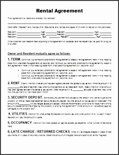 Lease Agreement Doc Inspirational Rental Agreement form Free Equipment Rental Agreement Doc format