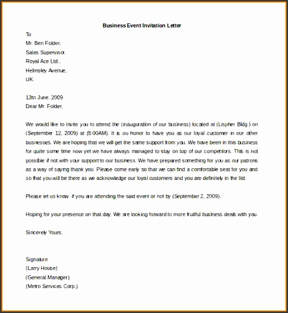 letter template business Free Printable Business Event Invitation Letter Template