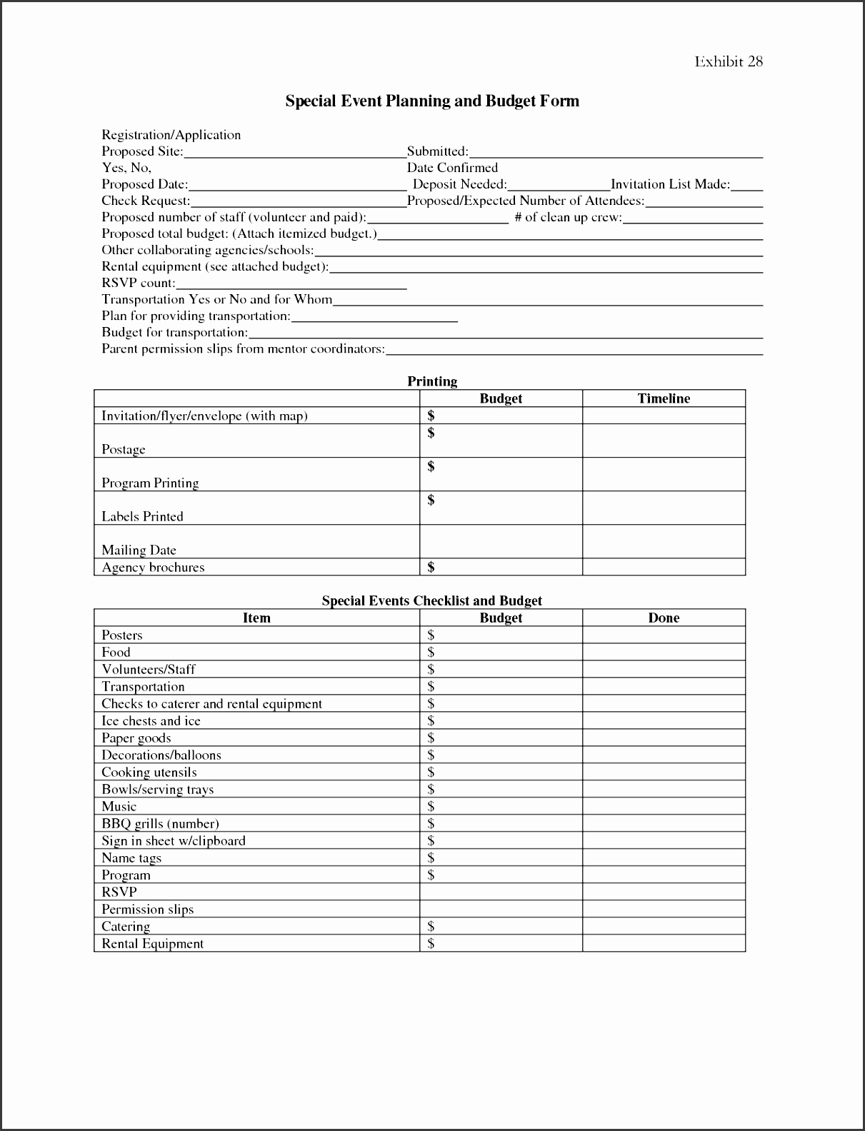 post event planning forms free printable 106433