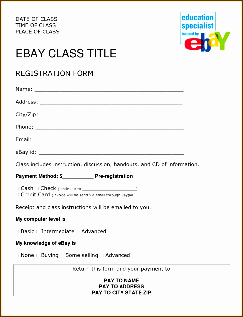 Printable registration form template 2 4 job format ledger paper camp templates creative portray school word