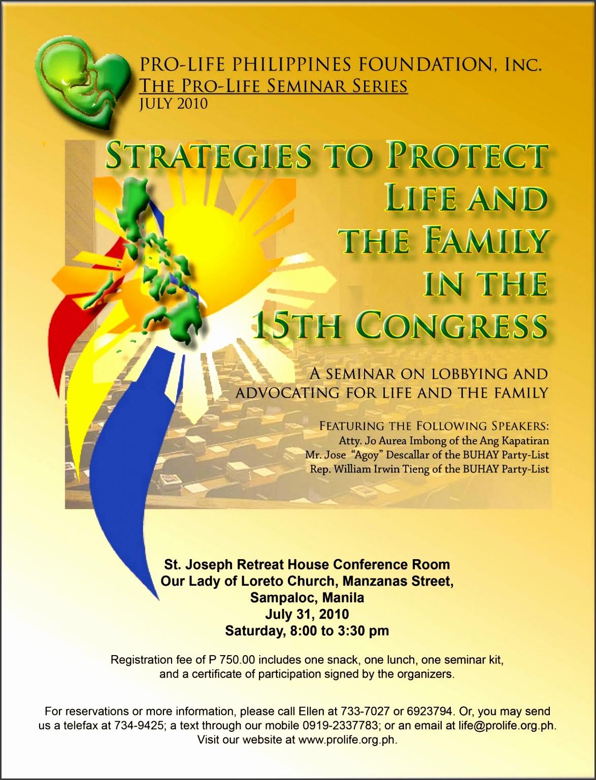 Prolife Advocacy Seminar Invitation
