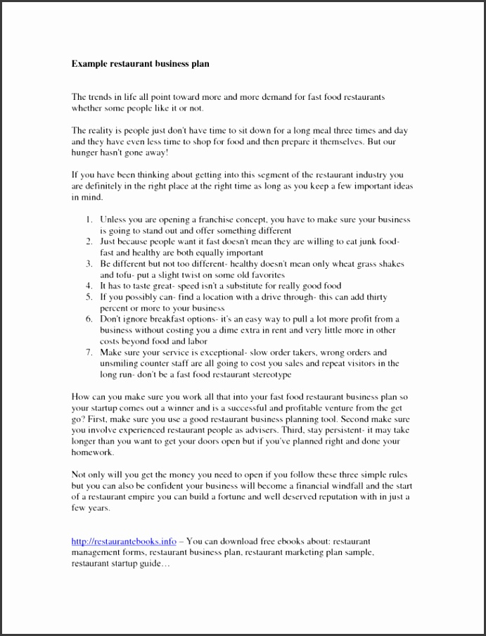 Best Simple Business Plan Sample Restaurant Example Proposal Template Free For And