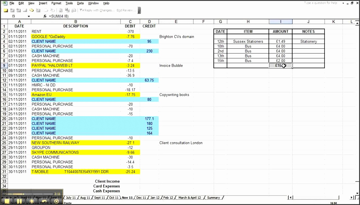 simple bookkeeping spreadsheet 3