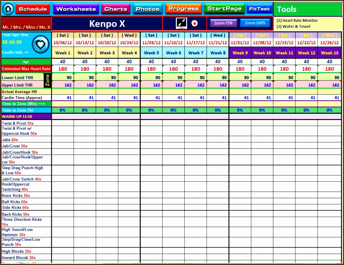 excel template training
