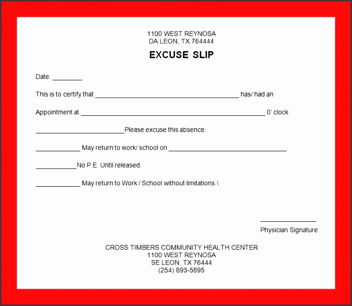 excuse note template excuse note template free doctors
