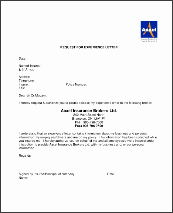 Work Experience Request Letter in PDF