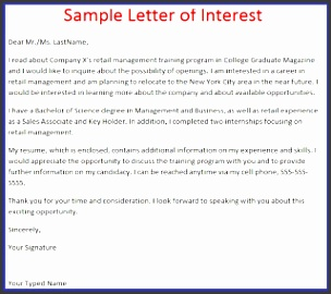 Here is Sample Letter of Interest Prospecting Letter you may edit this sample to apply your job application letter