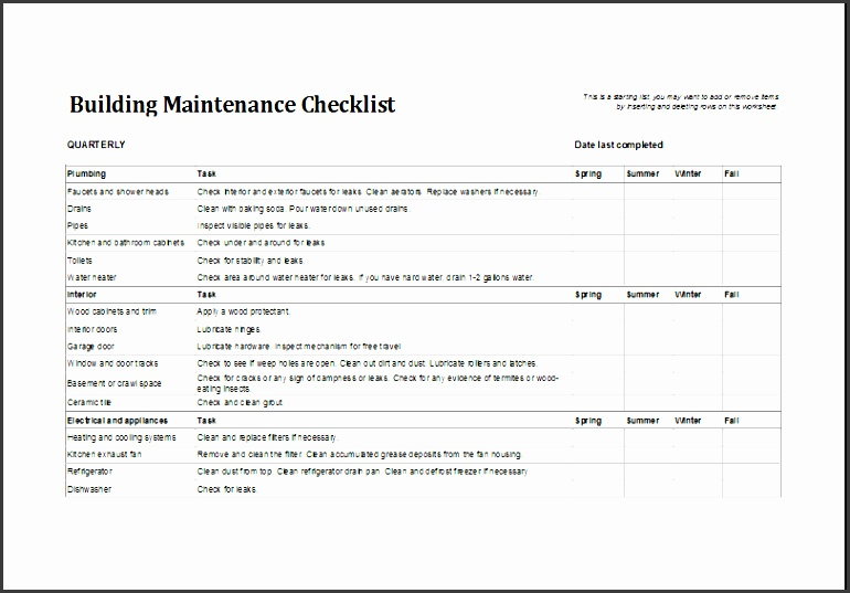 facility maintenance checklist template 74112