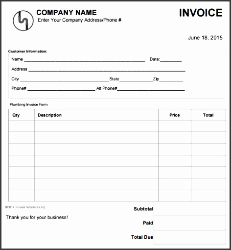 14 Free Plumbing Invoice Templates Demplates Fake Invoice Template
