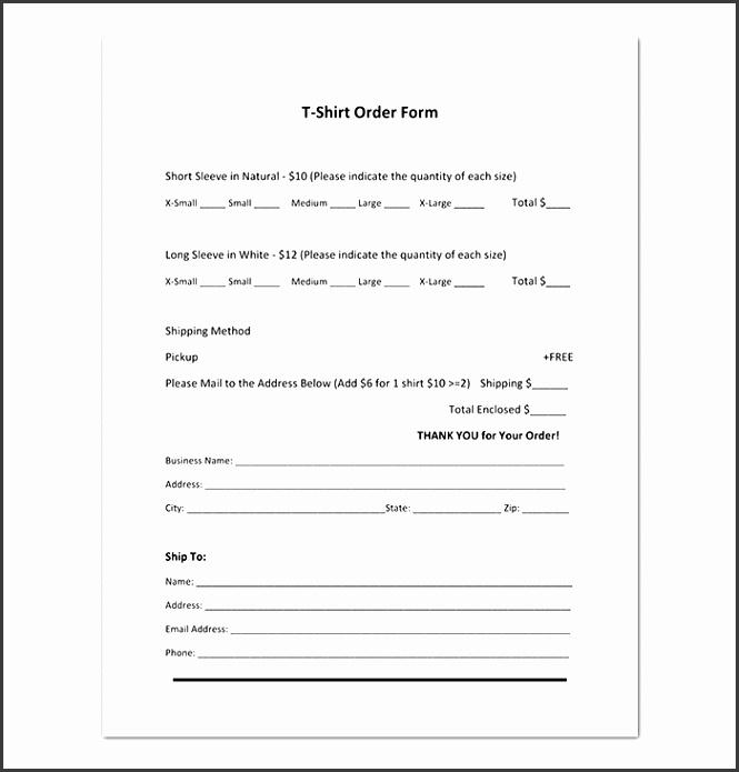 Short Sleeve T Shirt Order Form Template