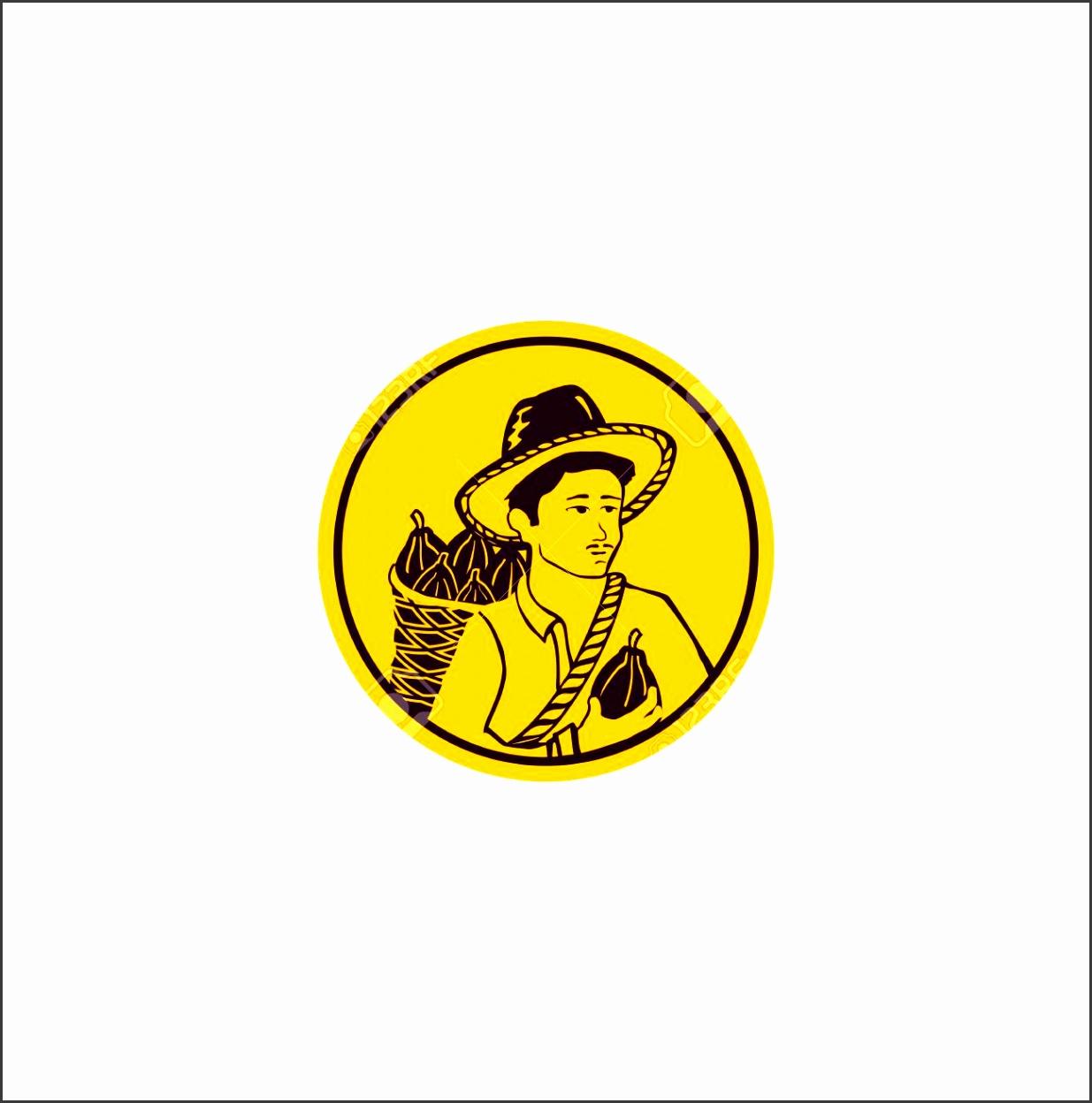 Farmer logo design template Harvest vector illustration Isolated human design Farmer yellow color