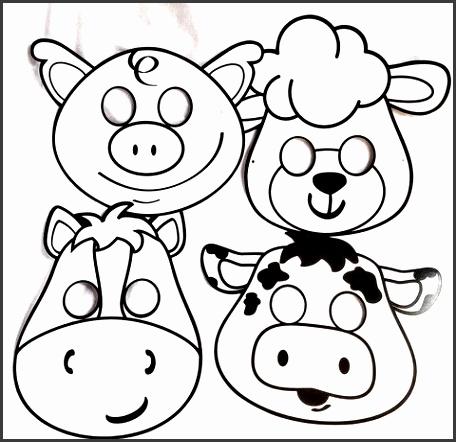 Farm Animal Masks 8 Color Your Own