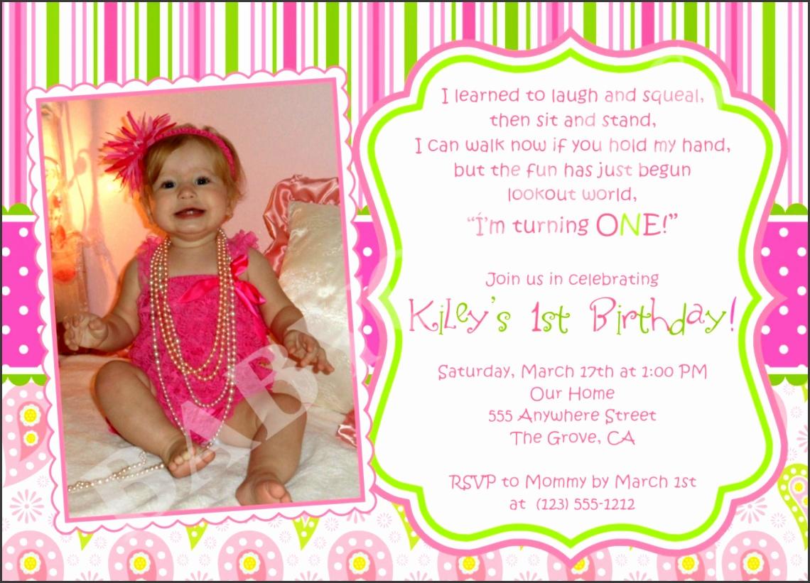 First Birthday Invitation Card Template 6