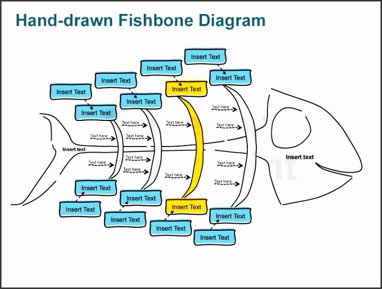 editable powerpoint hand sketched fishbone diagrams graphic